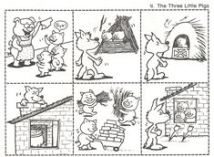 The three little pigs - De drie biggetjes story sequencing Sequencing Cards, Story Sequencing, Peppa Pig Coloring Pages, Colouring Pages, Coloring Sheets, Book Activities, Preschool Activities, 3 Little Pigs Activities, Three Little Pigs Story