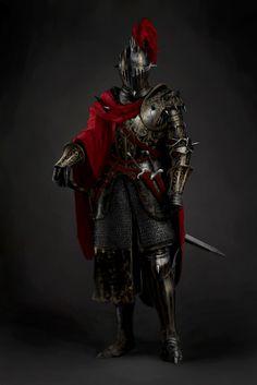 m Fighter Plate Armor Helm Cloak Sword Daggers spassundspiele Black ornate armor knight by Jonghwan Lee Dark Fantasy Art, Fantasy Armor, Evil Knight, Knight Art, Knight In Armor, Armadura Medieval, Medieval Armor, Medieval Fantasy, Fantasy Character Design