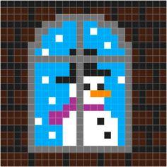 Raam sneeuwpop | Pixel Party