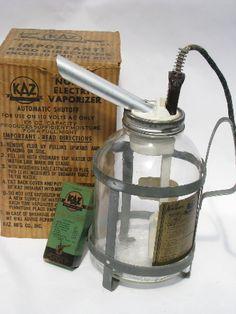 Vintage KAZ Electric Steam Vaporizer Inhaler with Old Medicine Bottle