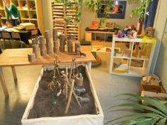 I like the materials in this classroom as well as the layout. Love the sand box! - LW ------------------- Inviting spaces for children This school has an interesting mix of Reggio and Montessori materials as a part of the classroom environment