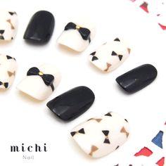 ブラック&ホワイトのミニリボンネイル - ネイルチップ(つけ爪)専門店ミチネイル