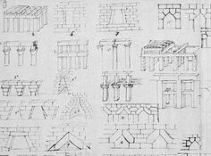 Close up of the famous 'Lange Blatt' with preparatory sketches by Karl Friedrich Schinkel for his 'Architektonische Lehrbuch', showing the historical decfelopment of making spans in architecture. Very inspiring.