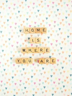 Home is Where You Are. Fine Art Photography. Scrabble Cubes. Wedding Gift. Wall Art. Home Décor. Pastel Hearts. Love Romantic. Size 5x7""