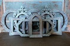 Ornate Frames Mirrors Light Blue Gold by turquoiserollerset, $74.00