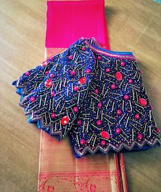 blouse designs latest Ruby Stone work Designer Blouse Looks Hot in Royal Blue Silk Blouse Back Neck Designs, Cutwork Blouse Designs, Kids Blouse Designs, Pattu Saree Blouse Designs, Bridal Blouse Designs, Latest Blouse Designs, Hand Designs, Blouse Patterns, Stylish Blouse Design