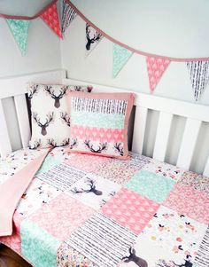 Deer baby crib bedding in pink and mint green. Decorating ideas for a baby girl nursery room with a woodl Deer baby crib bedding in pink and mint green. Decorating ideas for a baby girl nursery room with a woodland creatures theme décor design. Boho Nursery, Deer Nursery, Nursery Crib, Baby Crib Bedding, Baby Cribs, Nursery Decor, Mint Nursery, Baby Bedding For Girls, Deer Themed Nursery