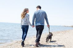 Cherry Beach Toronto engagement session with cute dog