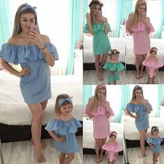 2017 Family Clothes Dresses Mother Mum Baby Girl Ruffled Off Shoulder Dress Baby Mother Daughter Outfits, Matching Family Outfits, Matching Clothes, Dress First, Outfit Sets, Baby Dress, Girl Fashion, Style Fashion, Dress Fashion