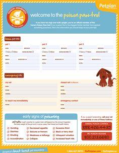 Download and personalize this handy Pet Poison Emergency Guide to help you act fast if your pet is ever in trouble!
