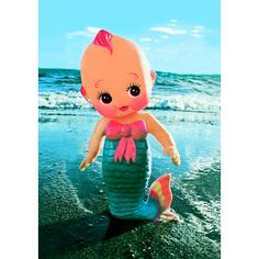 Mermaid Kewpie Print!  Go ahead, tail her how cute she is!  2.5 X 3.5 Artist Trading Card.  Card is a beautiful, eye-popping print of an original boopsiedaisy photograph printed at traditional trading card size.  You wont be disappointed in the thick lustrous quality and rich, vibrant colors. They just POP!  Back to our shop: http://www.etsy.com/shop/boopsiedaisy