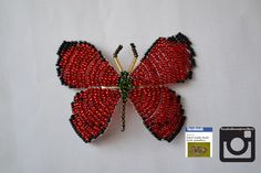 red beaded butterfly hair clip, £6.50 order at @ www.facebook.com/... #fashion #bracelet #jewellery #buy #handmade #round #3dbeading