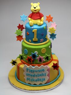 Winnie the Pooh 3tier birthday cake for kids in London.See more celebration cakes in London http://www.pinkcakeland.co.uk