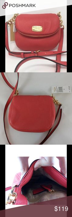 """NWT MICHAEL Michael Kors Bedford Crossbody Bag NEW • Gorgeous genuine soft pebbled leather Color: watermelon • Top flap with magnetic snap closure • Polished gold hardware & buckle accents • Gold-tone hardware & front logo  • Signature Michael Kors logo lining • 1 exterior zip pocket in the flap • 1 exterior slip pocket in front under the flap • Interior features 1 zip pocket • Gold chain and leather shoulder strap with 24"""" drop (7 adjustable buckle settings) • 7.5"""" W x 6.5"""" H x 2"""" D • Style…"""