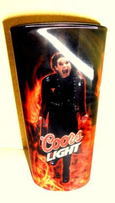 Ozzy Osbourne Coors Light Beer Crazy Train Fire Flames 3-D Glass Bonehead Psycho Baybee!    BlingBlinky.com