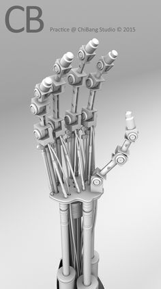 Robotic Terminator Arm T-800 Maya 3D model - Ambient Occlusion Hand Closeup.