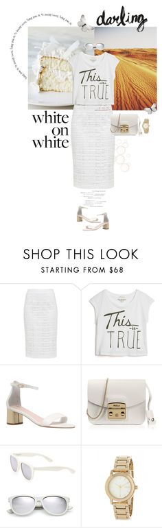 """""""white on white"""" by frechelibelle ❤ liked on Polyvore featuring Ted Baker, True Religion, Carvela, Furla, Yves Saint Laurent and DKNY"""