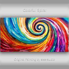 Original+Spiral+Art+painting+huge+Impasto+Texture+by+elsestudio,+$358.00