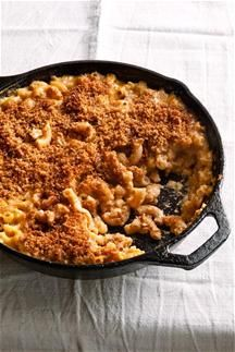 Ellie Krieger- Skillet Mac n Cheese Grocery List:    (1 ½ cups) whole grain elbow macaroni,  1-inch wide cauliflower florets  Light and Crisp Whole Wheat Bread Crumbs (recipe below) parmesan cheese EVOO 1 percent low-fat milk  flour shredded extra-sharp cheddar cheese (5 ounces) shredded gruyere cheese (1 ounce) mustard powder paprika cayenne pepper