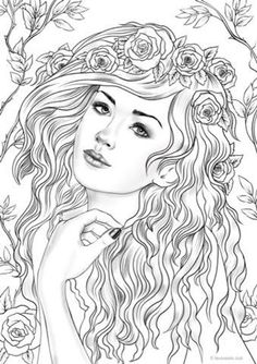 Grayscale Bundle - 10 Printable Adult Coloring Pages from Favoreads (Coloring book pages for adults, Coloring sheets, Coloring designs) Fairy Coloring Pages, Printable Adult Coloring Pages, Coloring Pages For Girls, Free Coloring Pages, Coloring Books, Kids Coloring, Coloring Pages For Adults, Free Online Coloring, Fantasy Girl