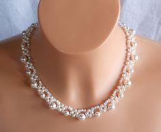 Swarovski Crystal Bridal Choker Necklace,Pearl Bri from akcrystalbead by DaWanda.com
