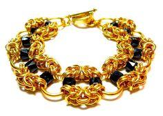 Stylish Byzantine chain maille bracelet gold with jet black crystal beads, via Etsy.