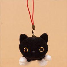 small Kutusita Nyanko plush charm black cat