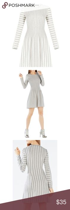 BCBG Marlin Pleated Striped Jacquard Dress Chic and comfortable 'Marlin' dress by BCBGMaxazria in a light jacquard fabric. Dress it up or down!  Excellent used condition. Size large. Real life pictures to come soon!  * Free gift with every purchase! * BCBGMaxAzria Dresses Mini