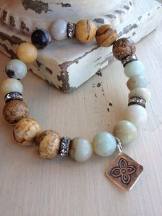 Organic neutral rustic glam mixed gemstone everyday chic blues browns thai silver stretch layering bracelet on Etsy, $42.00