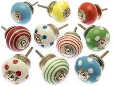 Set of 10 Ceramic drawer knobs in a burst of mixed primary colours of red, blue, green and yellow to add a fabulous fresh look to your room. Set of 10 Drawer Kn