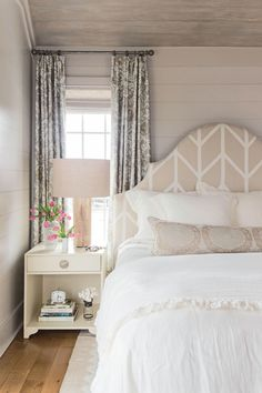 In this Sullivan's Island, South Carolina, master bedroom, it's all about a muted and romantic color palette.