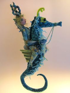 Sea Horse & Sea Imp soft sculpture dolls hanging by Kaeriefaerie52, $75.00
