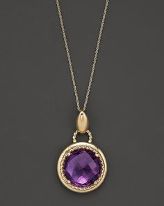 Bloomingdale's Amethyst and 14 Kt. Yellow Gold Pendant Necklace, 18""