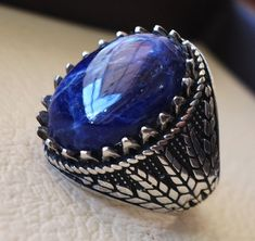 Sodalite huge natural stone men ring sterling silver 925 stunning genuine gem two tone persian arabic style jewelry all sizes Risk free Quality guarantee policy : If you are not satisfied with your item for any reason simply send it to us and you will get a replacement or full refund
