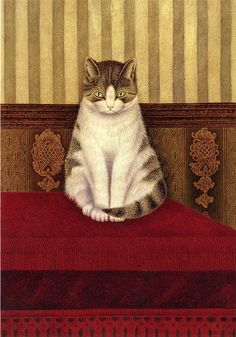"""Cat sitting on a bed"" by Salomon ""Sal"" Meijer (1877 - 1965, Dutch painter)"