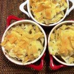 Eat, Fast and Live Longer. A 5-2 Fast Diet Meal Idea Under 300 Calories. Shredded Filo Pastry Topped Chicken And Leek Pot Pies with Roasted Pear And Parsnip.