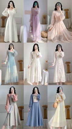 Old Fashion Dresses, Modesty Fashion, Korean Fashion Dress, Kpop Fashion Outfits, Cute Fashion, Beautiful Casual Dresses, Stylish Dresses For Girls, Simple Dresses, Pretty Dresses