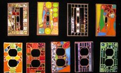 Switchplates by StJohnsGypsy Mosaic Crafts, Mosaic Projects, Mosaic Art, Mosaic Glass, Mosaic Tiles, Fused Glass, Stained Glass, Glass Art, Projects To Try