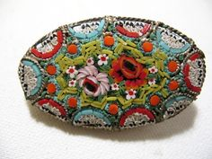 Vintage MicroMosaic Brooch with Floral Motif Made by Vintageisnow, $24.99