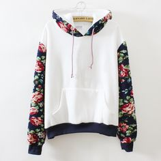 White Hoodie with Rose Print/ This would be cuter if the whole hoodie was not white, but maybe the navy blue