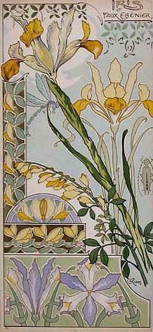 """""""Iris & Faux Ebenier"""" ~ Art Nouveau illustration"""