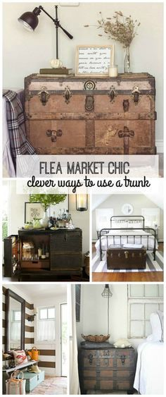 Pick up a vintage or antique trunk from a flea market or garage sale and use it as versatile rustic decor in almost any room in your home! Use a flea market trunk as a coffee table, nightstand, store shoes in it in your entryway or put it at the foot of your bed. This rustic chic piece is a must have flea market find!