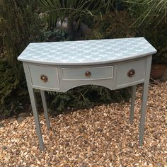 Annie Sloan duck egg blue and old white console table. Abode Interiors Ludllow Shropshire Uk