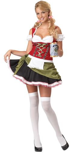 Bavarian Bar Maid Plus Size Wench Costume - Calgary, Alberta. This costume would be perfect for a wild costume party, Halloween, Oktoberfest or if you work at a bar or restaurant throwing a costume party!  This is a Oktoberfest Bavarian Bar Maid deluxe costume. This highly-detailed outfit is a beautiful choice for a fan of Nordic culture!  This four-piece Oktoberfest costume includes a dress and petticoat. The bodice of the dress is a faux corset with attached peasant top.