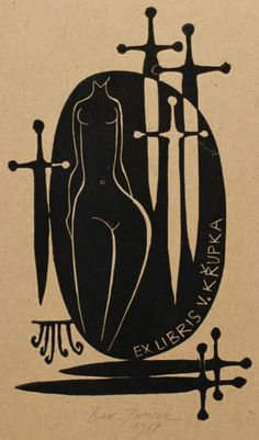 Vaclav Krupka bookplate (or ex libris) by Ladislav Rusek - Trudie Sutworth Ex Libris, Book Of Kells, Monochrom, Art Graphique, Wood Engraving, Vintage Posters, Printmaking, Illustration, Book Art