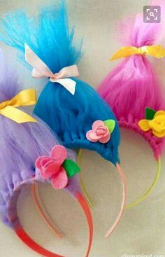 DIY Troll Hair Headbands - DIY Inspired - - For softball opening day, the teams get dressed up in costumes. We are the Trolls so, I had to figure out how to make DIY Troll hair headbands. Trolls Birthday Party, Troll Party, Girl Birthday, Birthday Parties, Birthday Ideas, Birthday Bash, Tea Parties, Birthday Gifts For Kids, Holiday Parties