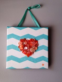Handmade button mosaic heart, peach and mint