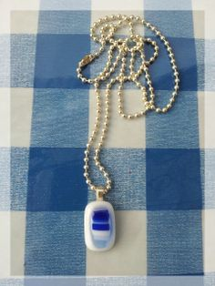Fusing Glass Pendant ISRAEL Blue color necklace by Silvinadesigns, $36.00