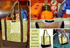 Pattern for cutest and sturdiest looking grocery bags I've ever seen.