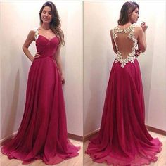 Gold and maroon back-less prom dress